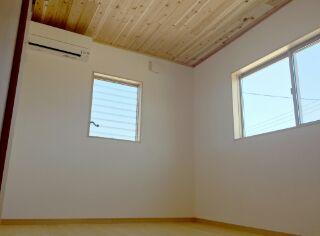 このお部屋は、珪藻土壁で、体に優しい素材で作りました。